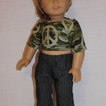 fitted camo crop top with peace sign,  grey stripe denim flare leg jeans ,18 inch doll clothes, American girl, Maplelea