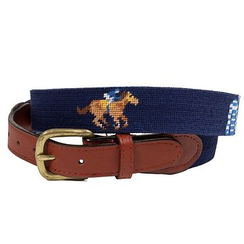 Race Horse & Jockey Silks Needlepoint Belt by Smathers & Branson