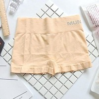 Beige Safety Pants For Women Seamless Body Shaping Casual Short Ladies Boxer Briefs Boyshorts Underwear Cotton Female Panties