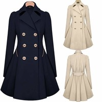 Women Vintage Trench Coat Slim Fit Double Breasted Parka Jacket Winter Overcoat