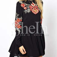 Black Long Sleeve Embroidered Embellishments Broderie Pleated Dress -SheIn(Sheinside)