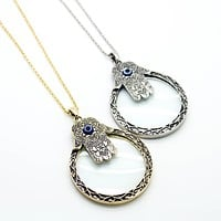 Hamsa magnifying glass necklace