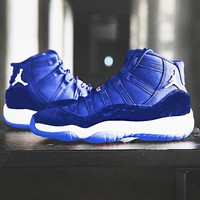 Air Jordan 11 RL GG Velvet New fashion couple leisure running sports shoes Blue