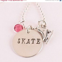 Winter Sale Hand Stamped SKATE Birthstone Charm Necklace Figure Skater Necklace with Sterling Silver Ice Skate Charm and Crystal Birthstone