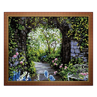 Frameless pictures Painting By Numbers DIY Digital Oil Painting On canvas Romantic 40x50cm Romantic Beautiful Garden Home Decor