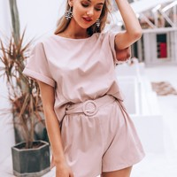 Simplee Solid Rolled Cuff Top & Ring Belted Shorts Set