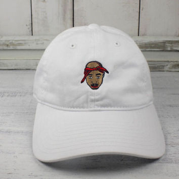 Mens & Womens 2pac Baseball Cap ALL EYES ON ME Curved Bill Dad Hat 100% Cotton White Tupac Strapback Hat