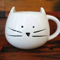 DOYOLLA Lovely Cute Little White Cat Coffee Milk Ceramic Mug Cup (White)