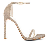 Stuart Weitzman Nudist Heel in Platinum
