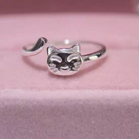 Cute small cat 925 Sterling Silver ring, a perfect gift