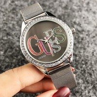 GUESS Fashion New Dial Colorful Shining Letter Diamond Round Shell Women Men Wristwatch Watch