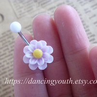 Beatiful Sunflower Flower Belly Button Ring, Belly Ring,
