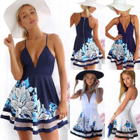 Women's Trending Popular Fashion Summer Beach Holiday Floral Printed Sexy Spagehetti Strap V Neck Erotic Mini Skirt Casual Party Playsuit Clubwear Bodycon Boho Dress _ 6190