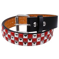 Red & Silver Studded Leather Belt