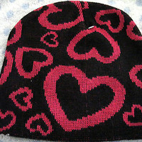 Hot Pink Hearts on Black Winter Knitted Skull Beanie Ski Cap -New with Tags!