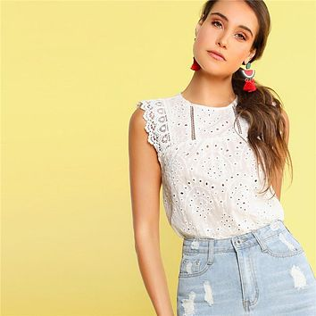 Scallop Hem Lace Insert Schiffy White Blouse Boho Cotton Sleeveless Ladies Tops Solid Womens Tops And Blouses