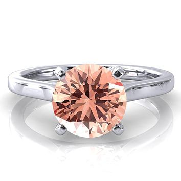 Darci Round Champagne Sapphire 4 Prong Cathedral Solitaire Engagement Ring