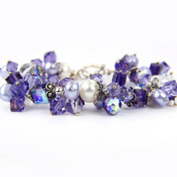Purple Crystal Freshwater Pearl Sterling Bracelet - Christmas Holiday Gift for her