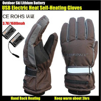 G115C 3.7V 2000mAh usb electric heating gloves Outdoor Sport Ski lithium battery self heating gloves Hand Back Heated about 3hrs