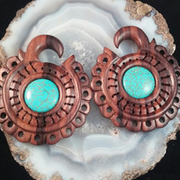 Ebony wood turquoise sun hoops for stretched ears