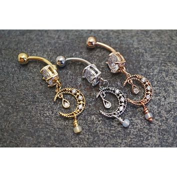 Silver, Gold or Rose Gold Crystal Moon Belly Button Ring