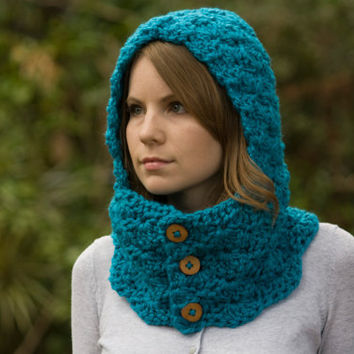 Cowl with Hood, Teal Scoodie, Blue Neckwarmer with Buttons, Crochet Hooded Cowl