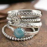 Bud Flower Floral Band Turquoise Cabochon Stacking Rings Set Sterling Silver