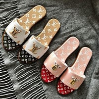 Louis Vuitton LV Fashion New Women's Stitched Printed Letter Slippers