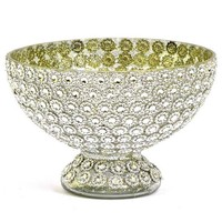 """Jeweled Glass Centerpiece Bowl in Silver - 5"""" Tall x 7.5"""" Wide"""