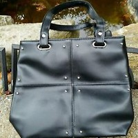 Black Faux Leather Studded Small Tote, NWOT