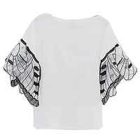 White Butterfly Embroidery Sleeve Cropped Blouse
