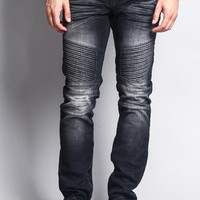 Men's Faded Skinny Biker Denim Jeans