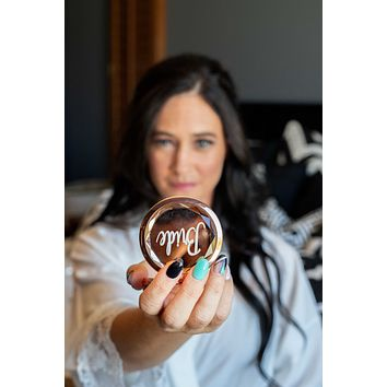 Rose Gold Jewel Top Compact Mirror