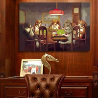 QKART Oil Painting Wall Art Canvas Prints Dogs Playing Poker no Framed Animal Wall Pictures for Living Room Posters and Prints