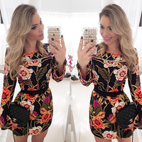 Black Floral Print Bell Sleeve Bodycon Mini Dress