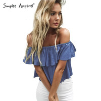 new summer sexy off shoulder women denim tops Casual ruffles short sleeve blue blusas Loose beach girl tops