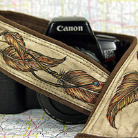 Dream Catcher Camera Strap, Hand Painted, Earth Toned, Dreamcatcher, Tribal, Feathers, One of a Kind, dSLR or SLR, 14-8