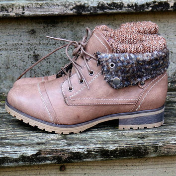 Mountain Trek Sweater Boots Taupe Cuffed Booties