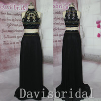New 2015 High Neck Crystal Diamond Removable Detachable Skirt Two Pieces Long Prom Dresses,mid section Black Chiffon Sexy Evening Prom Gown