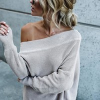 PREORDER - Chrissy Off The Shoulder Cotton Sweater