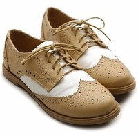 Ollio Women's Flat Shoe Wingtip Lace Up Two Tone Oxford(10 B(M) US, Sand)