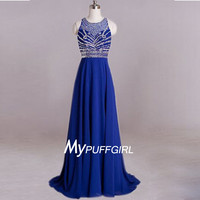Blue Sleeveless Beaded Bodice Chiffon Prom Dress With Cut Out Back