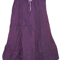 Womens Maxi Long Skirt Rayon Purple Embrioded Gypsy Ethnic Skirts