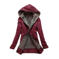 Autumn Winter Female Slim Hooded Warm Thick Coats Women Basic Jacket Coat Women Plush Fleece Outerwear
