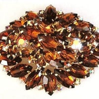 "Juliana Brooch Pin D&E Confirmed Mink AB Topaz Rhinestones Layered Gold Metal 2 3/4"" Vintage"