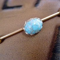 Turquoise Cabochon Industrial Barbell Piercing Earring Jewelry Stone Titanium Gold Gem 14g 14 G Gauge