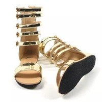 Gold or Black Leather Gladiator Sandals