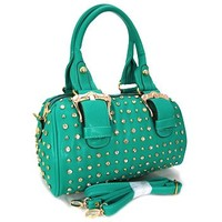 Gorgeous Buckles Bling Rhinestone & Stud Purse Top Handle Bag w/ Shoulder Strap Turquoise
