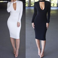 Bodycon Fashion Deep V-Neck Dress