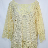 Umgee Plus Size Crochet Tunic Top-Open Knit-Cream